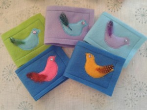 felt bird appliqué needle cases