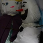 Elsa and Olaf scarecrows