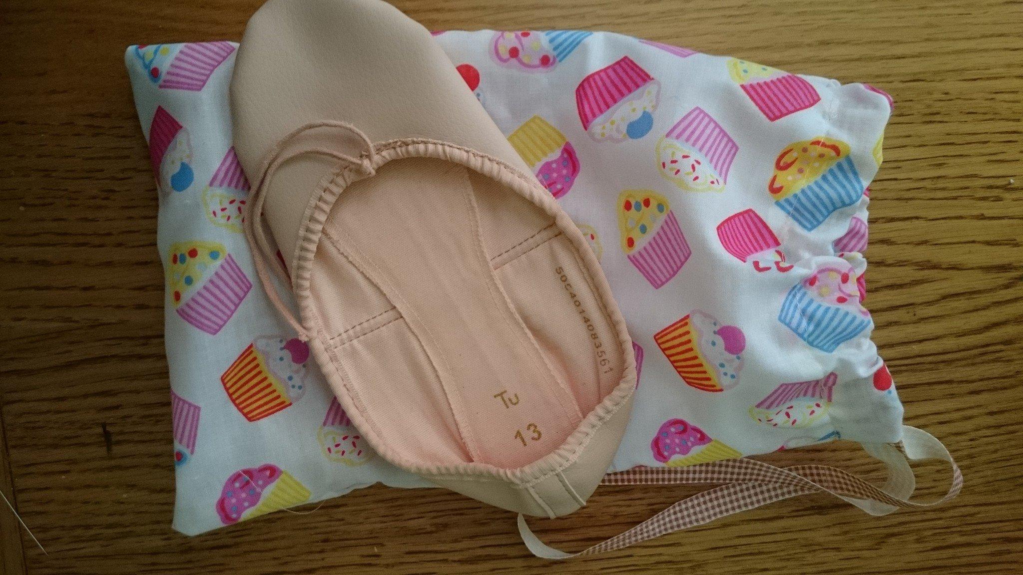 hand made cupcake ballet shoe bag
