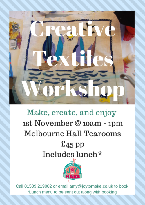 creative textiles workshop at Melbourne Hall Tearooms